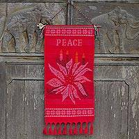 Cotton wall hanging, 'Peace' - Hill Tribe Red Cotton Christmas Peace Theme Wall Hanging