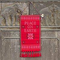 Cotton wall hanging, 'Peace on Earth' - Hill Tribe Crafted Red Cotton Peace Themed Wall Hanging