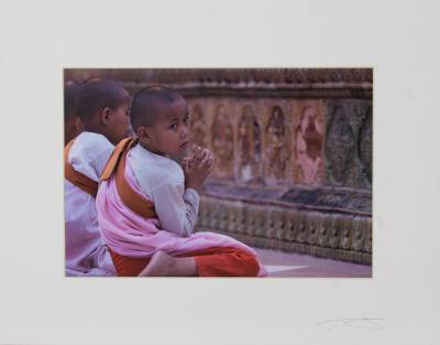 'Distractions of Youth' - Matted and Signed Photo of Novice Nun in Rangoon