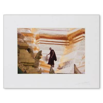'Evening Rounds II' - Original Color Photo Print of Buddhist Monk in Rangoon
