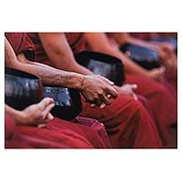 'Alms Bowls ll' - Original Color Photo Print of Buddhist Monks with Alms Bowls