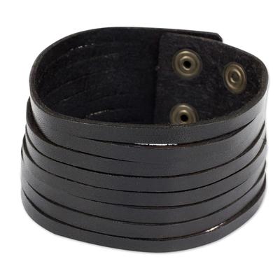 Men's leather wristband bracelet, 'Lanna Destiny' - Black Leather Wristband Bracelet for Men from Thai Artisan