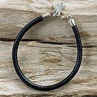 Silver and leather bracelet, 'Traces of Nature' - Black Leather Bracelet with 950 Silver Leaf Charm