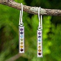 Multigemstone chakra earrings, 'Chakra Honor'