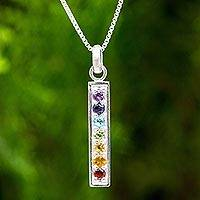 Multigemstone chakra pendant necklace, 'Chakra Honor' - Artisan Handcrafted 925 Sterling Silver Pendant Bar Necklace