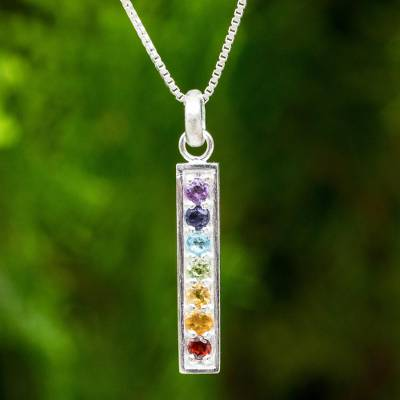 Multigemstone chakra pendant necklace, 'Chakra Honor' - Multiple Gemstones on Sterling Silver Bar Chakra Necklace