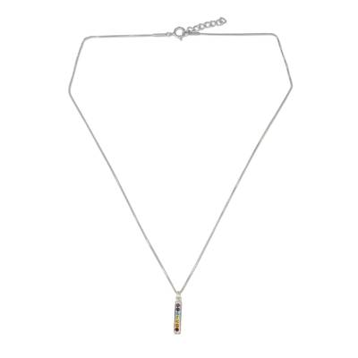 Multigemstone chakra pendant necklace, 'Chakra Honor' - Multiple Gemstones on Sterling Silver Bar Chakra Necklace