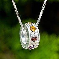 Multigemstone chakra pendant necklace, 'Chakra Honor Cycle' - Chakra Wheel Multiple Gemstones on Sterling Silver Necklace