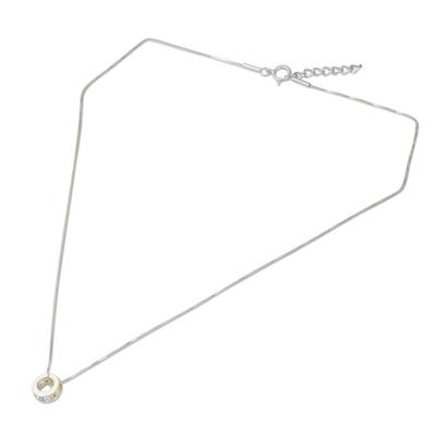 Multigemstone chakra pendant necklace, 'Chakra Honor Cycle' - Chakra Wheel Multiple Gemstones on Sterling Silver Necklace