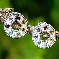 Multigemstone chakra earrings, 'Chakra Honor Wheel' - Chakra Wheel Multiple Gemstones on Sterling Silver Earrings