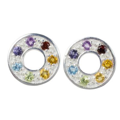 Multigemstone chakra earrings, 'Chakra Honor Wheel' - Chakra Wheel Multiple Gemstones on Sterling Silver Earrings