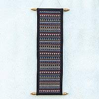 Cotton wall hanging, 'Thai Naga' - Hand Loomed Cotton Multicolored Thai Style Wall Hanging