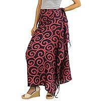 Silk batik sarong, 'Cerise Spiral' - Handcrafted Batik Silk Sarong in Cherry Red and Black