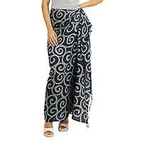Silk batik sarong, 'Ebony Spiral' - Silk Batik Sarong in Black and Grey from Thailand