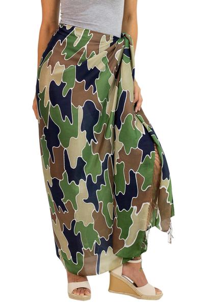 Artisan Crafted Silk Batik Sarong in Camouflage Print