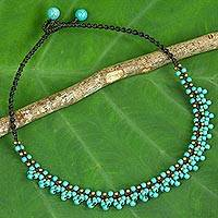 Calcite beaded pendant necklace, 'Ocean Horizon' - Artisan Crafted Turquoise Color Beaded Necklace