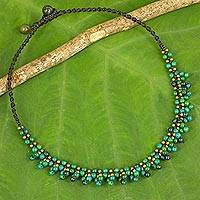 Serpentine beaded pendant necklace, 'Forest Horizon'