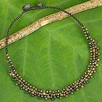 Jasper beaded pendant necklace, 'Rainforest Horizon' - Jasper and Brass Beaded Ethnic Style Necklace