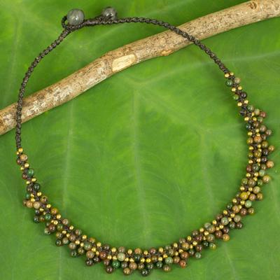 Jasper beaded pendant necklace, 'Rainforest Horizon' - Jasper and Brass Beaded Ethnic Style Necklace