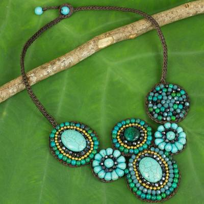 Calcite beaded necklace, 'Icy Forest' - Blue and Green Beaded Necklace Thai Ethnic Style