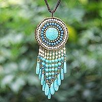 Calcite beaded pendant necklace, 'Blue Waterfall Sun'