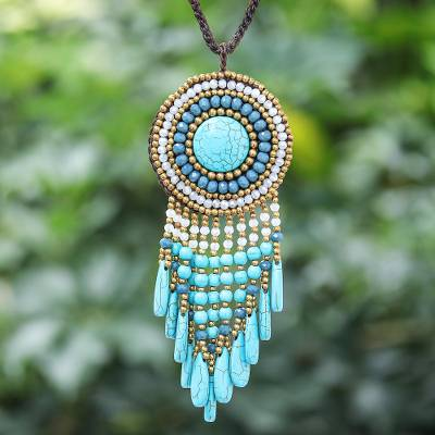 Calcite beaded pendant necklace, 'Blue Waterfall Sun' - Blue Bohemian Style Beaded Necklace from Thailand