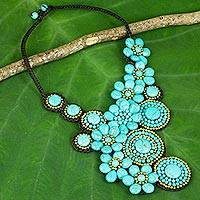 Calcite beaded necklace, 'Floral Sunlight' - Beaded Necklace with Turquoise colour Flowers and Suns
