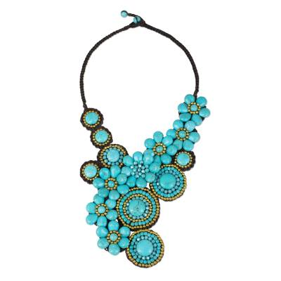 Beaded Necklace with Turquoise Color Flowers and Suns