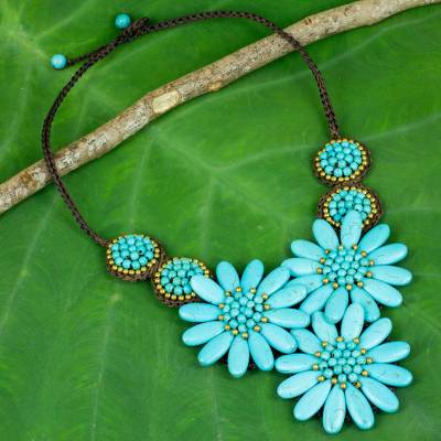 Calcite beaded pendant necklace, 'Blue Chrysanthemum' - Artisan Made Calcite Chrysanthemum Beaded Necklace