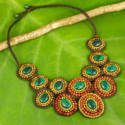 Quartz beaded pendant necklace, 'Tribal Forests' - Handmade Serpentine and Brass Beaded Statement Necklace