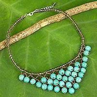 Calcite beaded necklace, 'Turquoise Beginnings' - Thai Turquoise Color Beaded Necklace Crafted by Hand