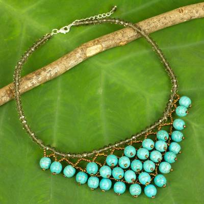 Calcite beaded necklace, 'Turquoise Beginnings' - Thai Turquoise colour Beaded Necklace Crafted by Hand
