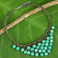 Quartz beaded necklace, 'Verdant Beginnings' - Thai Artisan Crafted Jewelry Green Beaded Necklace