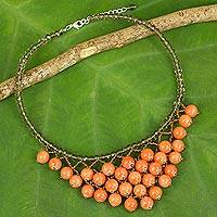 Quartz beaded necklace, 'Sunny Beginnings' - Thai Artisan Crafted jewellery Orange Beaded Necklace