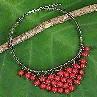 Quartz beaded necklace, 'Crimson Beginnings' - Bright Red Thai Artisan Crafted Jewelry Beaded Necklace