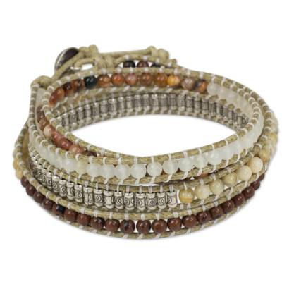 Jasper and quartz wrap bracelet, 'Natural Instinct' - Wrap Style Bracelet with Jasper Quartz and 950 Silver