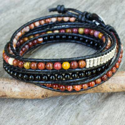 Multi-gemstone wrap bracelet, 'Jupiter Rising' - Wrap Bracelet from Thailand with Carnelian Onyx and Jasper
