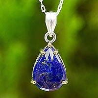 Lapis lazuli pendant necklace, 'Contemporary Classic' - Lapis Lazuli Teardrop Pendant Necklace with Gold Accent
