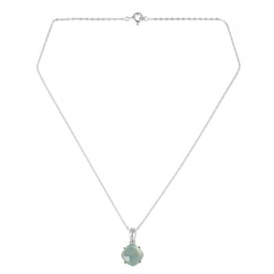 Pendant Necklace with Blue Chalcedony and Gold Accents