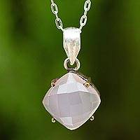 Pink chalcedony pendant necklace, 'Modern Sensibilities' - Faceted Pink Chalcedony Pendant Necklace from Thai Artisan