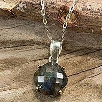 Labradorite pendant necklace, 'Modern Sensibilities' - Pendant Necklace with Labradorite and Sterling Silver