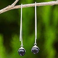 Cultured freshwater pearl dangle earrings, 'Simple Glamour' - Dangle Earrings with Black Cultured Freshwater Pearls