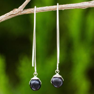Cultured freshwater pearl dangle earrings, 'Simple Glamour' - Dangle Earrings with Black Cultured Freshwater Pearls