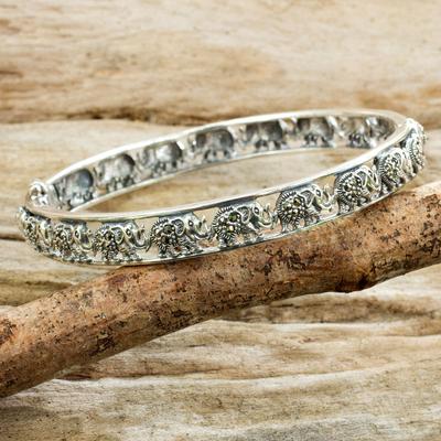 Marcasite bangle bracelet, 'Elephants of Siam' - Glistening Marcasite Elephants on 925 Silver Bracelet