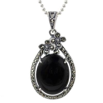 Onyx and marcasite flower necklace, 'Midnight Daisies' - Sterling Silver Flower Necklace with Onyx and Marcasite