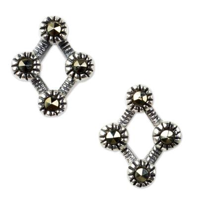 Marcasite button earrings, 'Points of Light' - Rhombus Shaped Sterling Silver and Marcasite Earrings