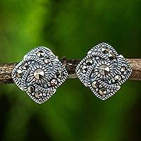 Marcasite button earrings, 'Starlight Pinwheels'