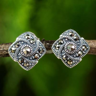 Marcasite button earrings, 'Starlight Pinwheels' - Modern Style 925 Sterling Silver Earrings with Marcasite