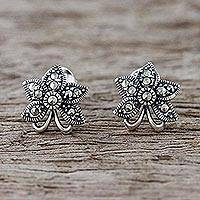 Marcasite flower earrings, 'Dewkissed Orchids'