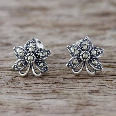 Marcasite flower earrings, 'Dewkissed Orchids' - Sterling Silver Orchid Flower Earrings with Marcasite